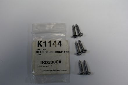 1968-1982 C3 Corvette Coupe,Rear Coupe Roof Panel Screws,New,Box B